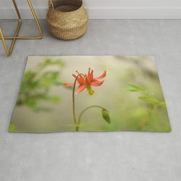 Red Columbine Wildflower Flower Rainforest Northwest Spring Garden Wilderness Nature Outdoors  Rug