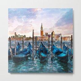 Gondolas in Venice Metal Print