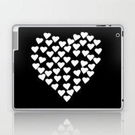 Hearts on Heart White on Black Laptop & iPad Skin