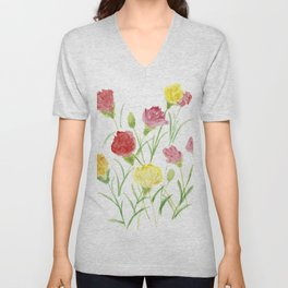 Be Happy as the Pink and Yellow Carnations Unisex V-Neck