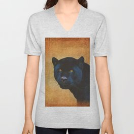 Black Jaguar in Portrait Unisex V-Neck