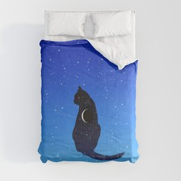 Cosmic Cat on a Starry Sky Background Comforters