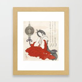 Woman with incense burner by Totoya Hokkei Framed Art Print