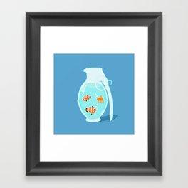 Fish Grenade Framed Art Print