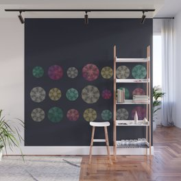 Starry-Lace Mandala Festival (tiny stars, flower and lace repeated round shape) Wall Mural