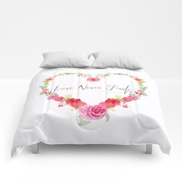 Love Never Fails Floral Heart Comforters