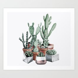 Potted Cacti + Succulents Rose Gold Art Print