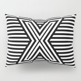 Track - Letter X - Black and White Pillow Sham
