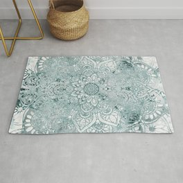 Mandala Flower, Teal and White, Floral Prints Rug