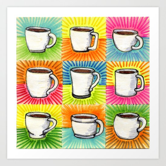 I drew you 9 little mugs of coffee Art Print