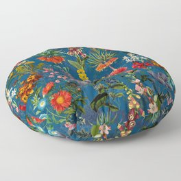 Vintage & Shabby Chic - Blue Midnight Spring Botancial Flower Garden Floor Pillow
