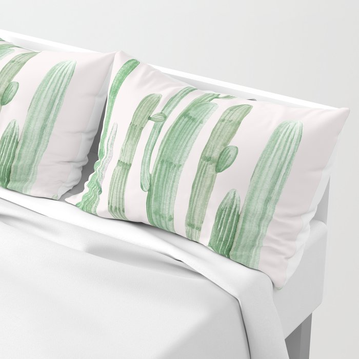 Three Amigos Pink + Green Pillow Sham