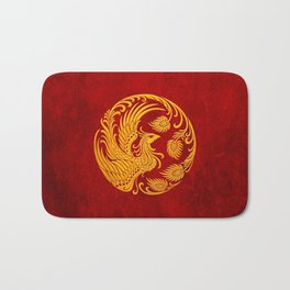 Traditional Yellow and Red Chinese Phoenix Circle Bath Mat