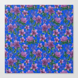 A watercolor seamless pattern of pink rhododendron flowers, branches of green leaves Canvas Print