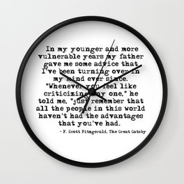 In my younger and more vulnerable years - F Scott Fitzgerald Wall Clock