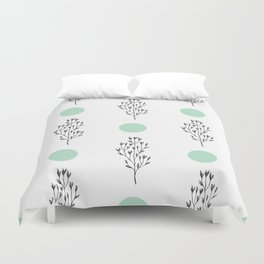 Black brunches & green dots pattern Duvet Cover
