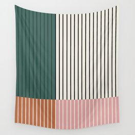 Color Block Line Abstract V Wall Tapestry