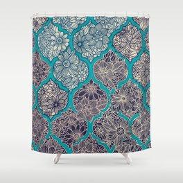 Moroccan Floral Lattice Arrangement - teal Shower Curtain