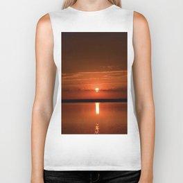 sunset over the lake Biker Tank