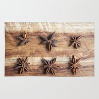 baking Area & Throw Rugs featuring Stars and Stripes of Baking - Star Anise by Jean Ladzinski