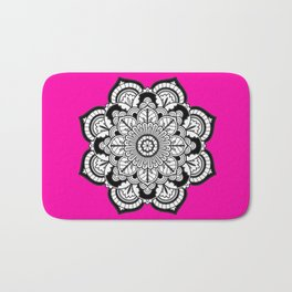 Black and White Flower in Magenta Bath Mat