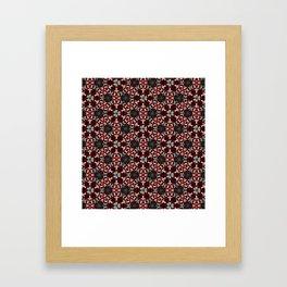 Dark Red and Green Flower Pattern Framed Art Print