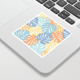 Monstera leaves Colorful Jungle leaves Palm leaves Tropical art Sticker