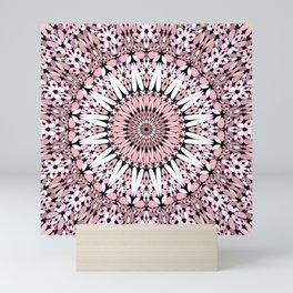 Pink Floral Gravel Mandala Mini Art Print