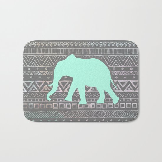 Mint Elephant  Bath Mat