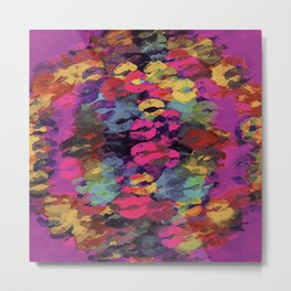 pink red yellow and purple kisses lipstick abstract background Metal Print