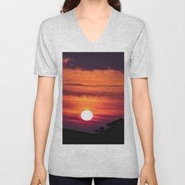 Sunset Red Black Clouds Skyscape Night Unisex V-Neck
