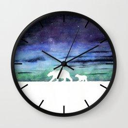 Aurora borealis and polar bears (white version) Wall Clock