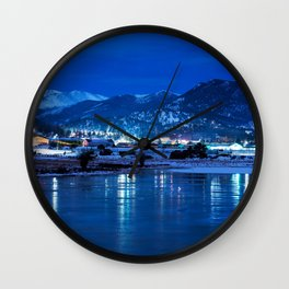 Picture USA Estes Park Colorado Nature Winter mountain Snow Lake Parks Night Cities Mountains park night time Wall Clock