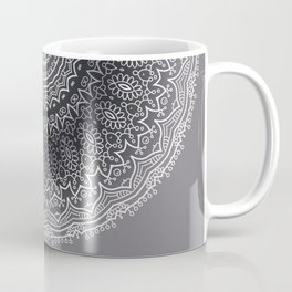 White Line Art Mandala On Grey Coffee Mug