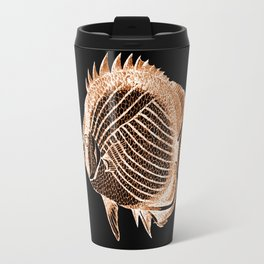 Fish nautical coastal in black background Travel Mug