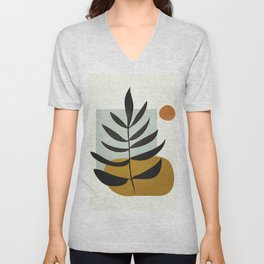 Soft Abstract Large Leaf Unisex V-Neck
