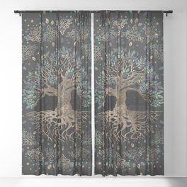 Tree of life -Yggdrasil Golden and Marble ornament Sheer Curtain