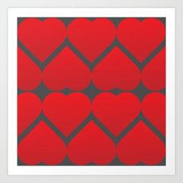 valentine repeating hearts pattern Art Print
