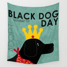 Black Dog Day Royal Crown Wall Tapestry