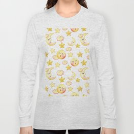 Yellow pink  watercolor dreamy stars moon sun pattern Long Sleeve T-shirt