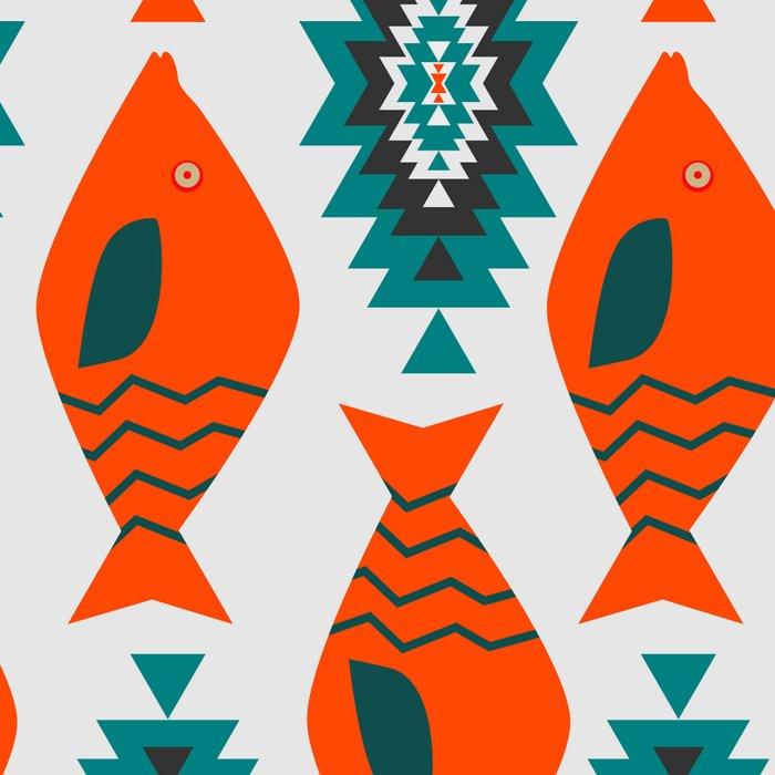 Ethnic pattern with fish Leggings