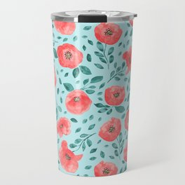 Watercolor poppy flowers on a  blue background Travel Mug