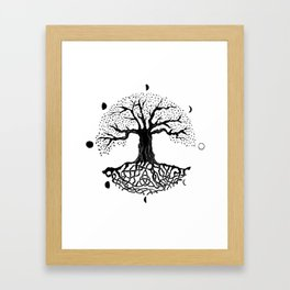 black and white tree of life with moon phases and celtic trinity knot II Framed Art Print