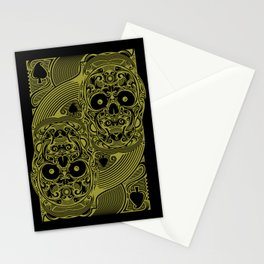 Ace of Spades Gold Skull Playing Card Stationery Cards