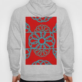Turquoise & Red Overlapping Scalloped Links & Rings Hoody