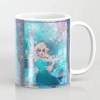 frozen elsa Mugs featuring Frozen Elsa by Teo Hoble