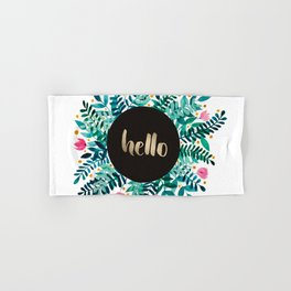 Hello flowers and branches - green and pink Hand & Bath Towel