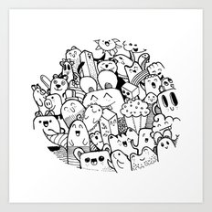 happy circle doodle Art Print