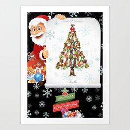 Cute Boxer Dog Christmas Tree Gift Decor Xmas Tree Art Print