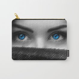 Black and white painting - Blue-eyed Girl - Jeanpaul Ferro Carry-All Pouch